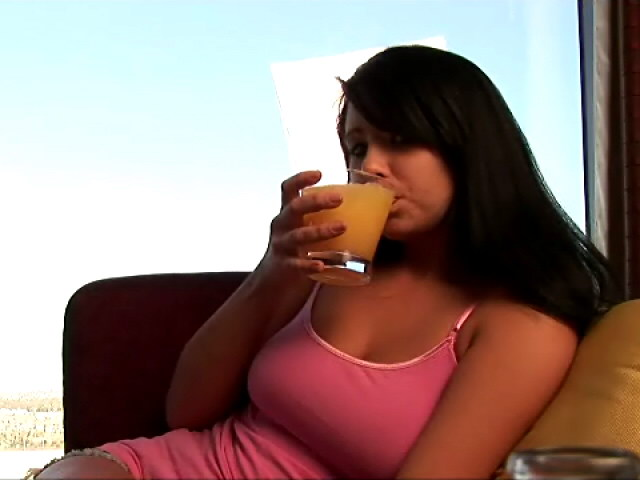 Irressistible Teenager Hottie Josie Swallowing Whisky With Ice At The Bed